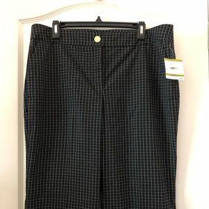 NWT Anne Klein Women's Black Checkered Pants 903